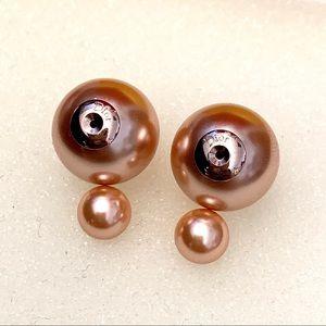 Dior Pink Double Pearl Mis en Tribale Stud Earring